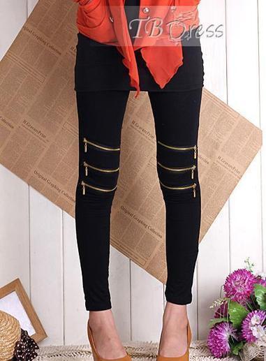 $ 9.19 Luxury Korean Style Cotton Zippered Elastic Leggings | Style | Scoop.it