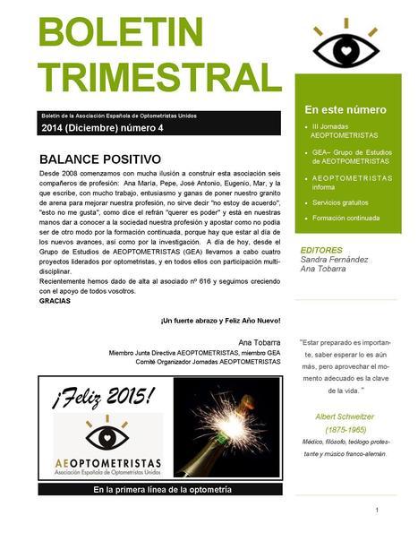 AEOPTOMETRISTAS-Boletín trimetral Diciembre 2014 | Salud Visual (Profesional) 2.0 | Scoop.it