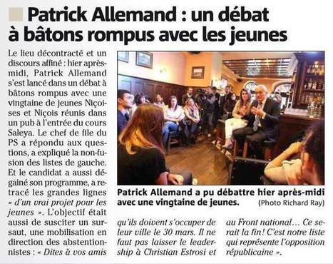 """""""Patrick Allemand : un débat à bâtons rompus avec les jeunes""""   Nice 2014, Un autre Avenir pour Nice avec Patrick Allemand   Scoop.it"""