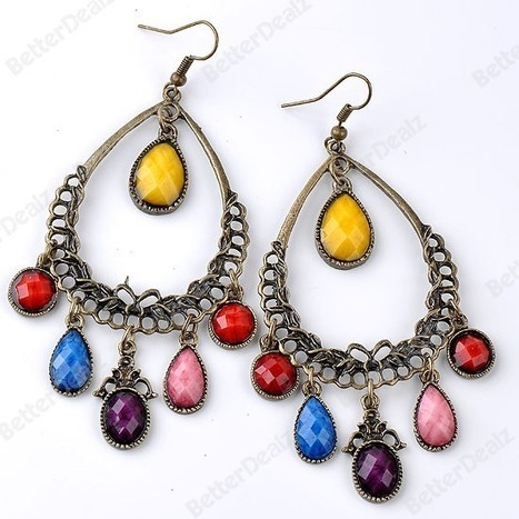 Colorful Faceter Resin Teardrop Chandelier Dangle Hook Ear Earring Bronze Gift | Fashion Jewelry | Scoop.it