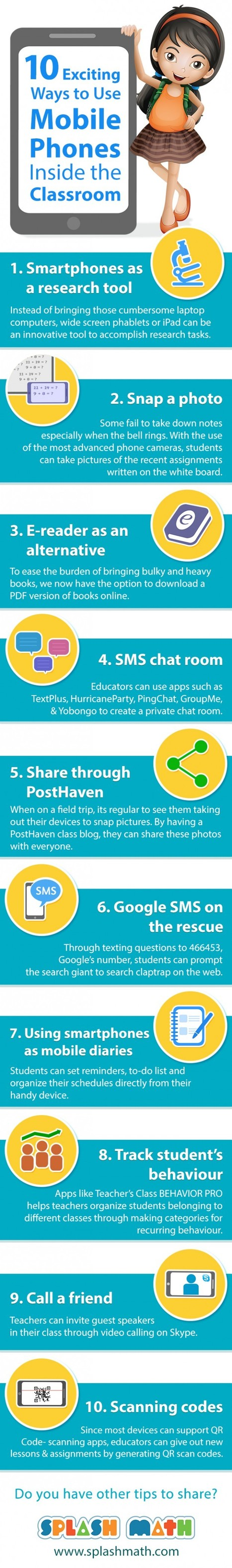 10 Exciting Ways to Use Mobile Phones In the Classroom Infographic | e-Learning Infographics | Web Site of the Week - 3.0 - SD#60 - PRN | Scoop.it