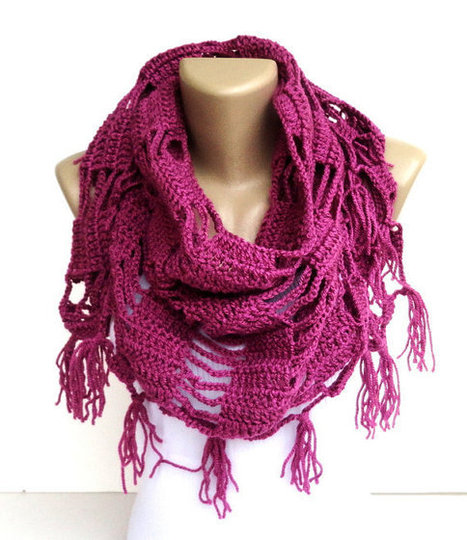 Valentines day ,love pink fushia scarf ,shawl ,neckwarmer ,crocheted scarf shawl ,cowl - wrap - gift ideas for her | scarf | Scoop.it