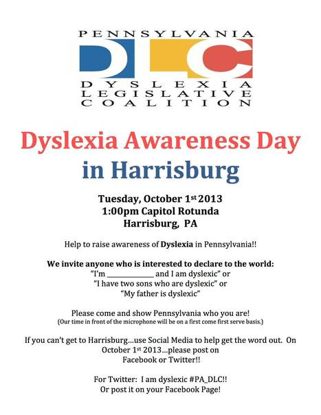 Dyslexia Awareness Day in Harrisburg, PA | The World of Dyslexia | Scoop.it