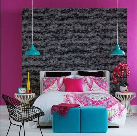 """Colorful Interiors  - bedroom that includes a carpeted Headboard   Alexanian Carpet & Flooring - """"The World at Your Feet"""" www.alexanian.com   Scoop.it"""