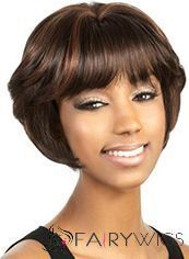 New Short Wavy Brown Full Bang African American Wigs for Women 10 Inch : fairywigs.com | African American Wigs | Scoop.it
