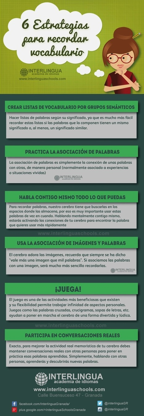 Aprende inglés: 6 estrategias para recordar vocabulario #infografia #education | Aprendiendoaenseñar | Scoop.it