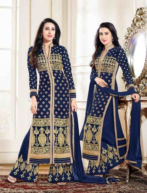 New Designer Navy Blue Straight Plazo Suit | Women's Fashion & Jewellery Shopping | Scoop.it