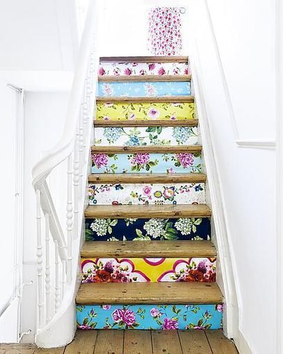 DIY Project: Wallpaper on Stair Risers! | Brewster Wallcovering Blog | Interior Wallpaper | Scoop.it