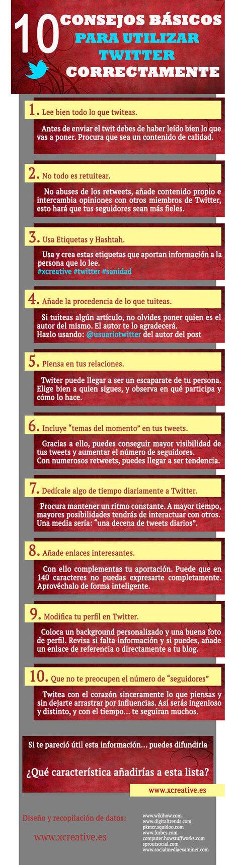 10 consejos para usar Twitter correctamente infografia-infographic | Infograf | Scoop.it