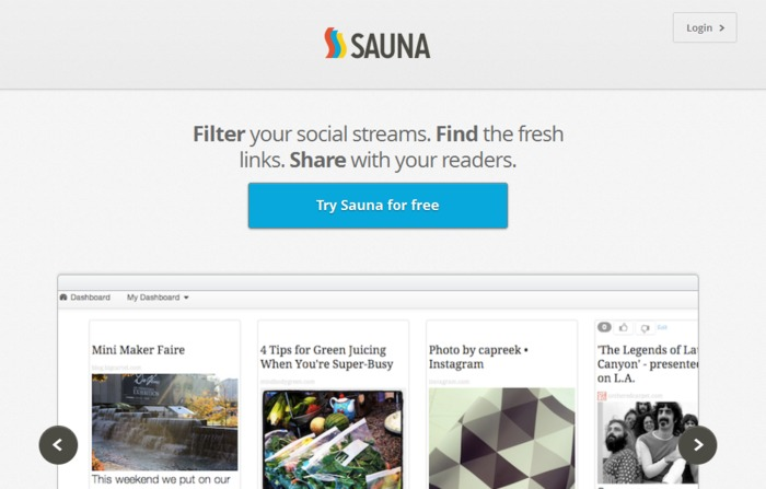 Find, Curate And Share Your Favorite Content With This Social Curation Tool: Sauna   Business in a Social Media World   Scoop.it