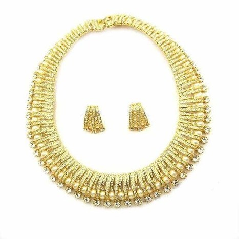 Fashion Jewelry Set/Luxurious Design Clear Rhinestone Golden Pearl Alloy Women Jewelry Set Necklace And Earrings Party Ball Wedding Ceremony | women fashion accessories | Scoop.it