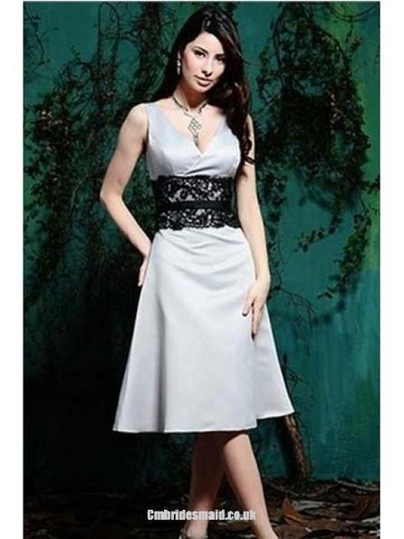 2013 sweet bridesmaid dresses Summer Tea-Length Satin Bow (s) V-neck Misses Uk Bridesmaid Dress - Cmbridesmaid.co.uk | Press Release from dressmebridal.co.uk | Scoop.it