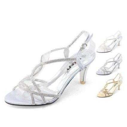SHOEZY Trend Womens Evening Dress Cross Strappy Rhinestones Mid Heels Sandals   Wedding Shoes   Scoop.it