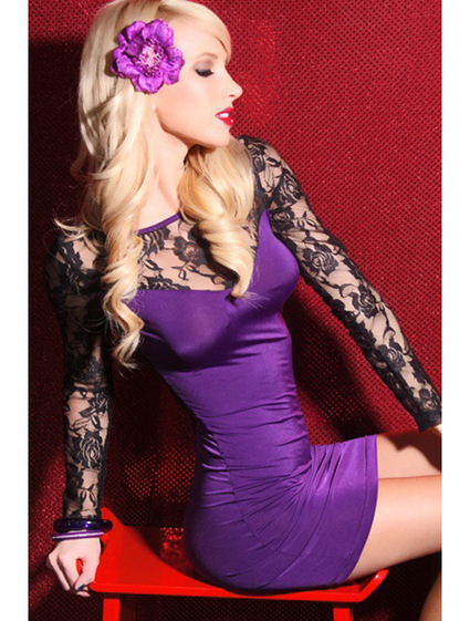 women Long Sleeve Floral Lace Dress for sale - Sexy Mini Dress at Be Luring | Floral Lace Trim Bra Set | Scoop.it