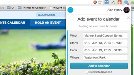 SpotOn.It Adds Events from Sites You Visit to Your Google Calendar | Kit's social | Scoop.it