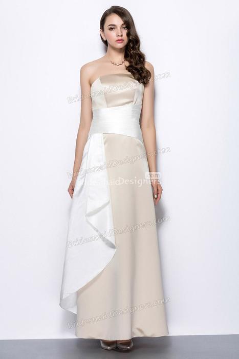 Elegant Straight Across Neckline Two Tone Satin Long Prom Dress with Waist Band | Designer Bridesmaid Dress 2014 | Scoop.it