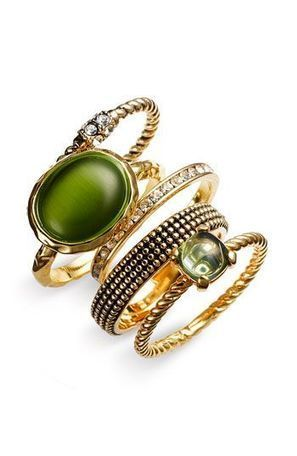 Stacking rings in green   FanPhobia - Celebrities Database   Tattos and Jewelry   Scoop.it