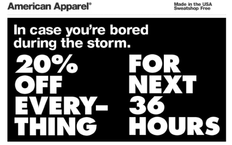 American Apparel Angers Twittersphere With 'Hurricane Sandy Sale' | Mashable | Public Relations & Social Media Insight | Scoop.it