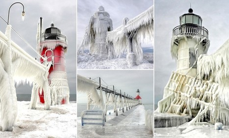 Frozen in time: Michigan lighthouses transformed into stunning giant icicles after being frozen solid by storm | Random Life | Scoop.it