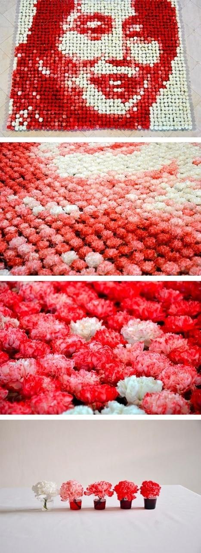 Hong Yi: 2000 dyed carnations | Art Installations, Sculpture, Contemporary Art | Scoop.it