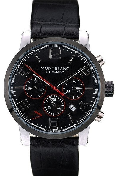 Replica MontBlanc Black Dial Black Leather Strap Mens Watch | Men's & Women's Replica Watches Collection Online | Scoop.it