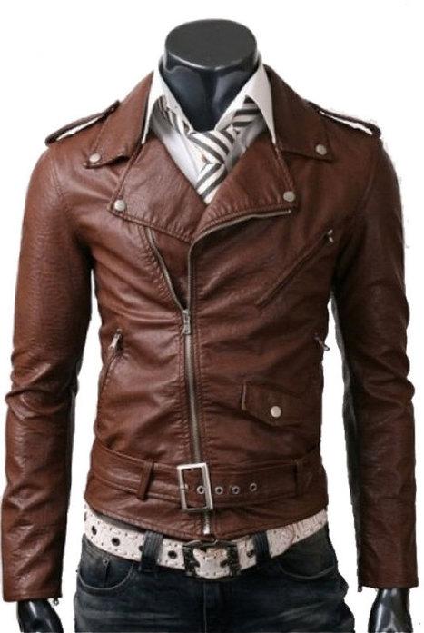 Erkek Kahverengi Deri Biker Ceket sadece $ 200 bir temiz Gentleman Bak alın | Leather Jacket Stylish | Scoop.it