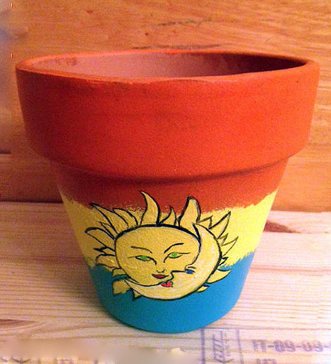 Colorful Scene Sun and Moon Kissing Hand Painted on 4.5 Inch Terra Cotta Red Clay Pot Made to Order | Antiques n' Oldies | Scoop.it