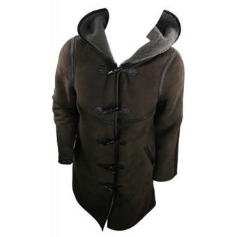 Ladies 100% Real Shearling Sheepskin Leather Winter Aviator Duffel Hood Brown Jacket Coat | Womens Clothing | Scoop.it