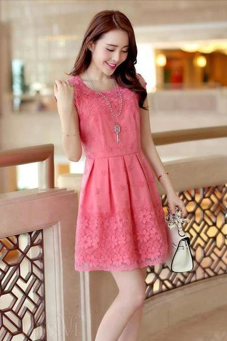 Fashion New Style Cool  Emboidery Lace Round Neck Short Sleeve Slim Dress | Dressve fashion | Scoop.it