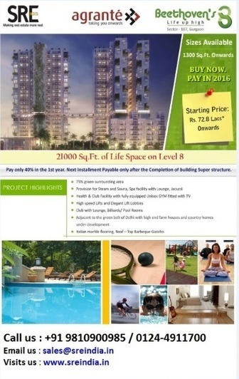 SRE India RealFin Pvt Ltd: Agrante Beethoven 8 - Mega township with high life apartments in gurgaon | SRE India | Scoop.it