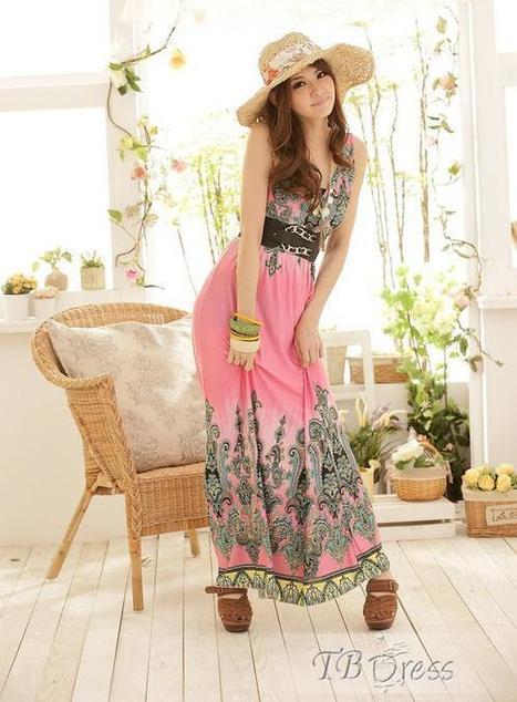 Charming Empire Waist V-neckline Floral Imprint Maxi Dress | beauty girl | Scoop.it
