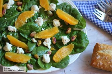 Ensalada griega de espinacas, queso de cabra, naranja y pistachos. Receta   Libro de recetas   Scoop.it
