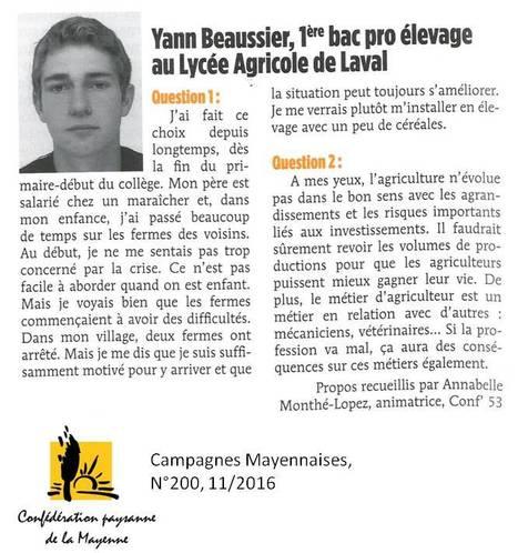Devenir agriculteur : témoignage | Le lycée agricole de Laval | Scoop.it
