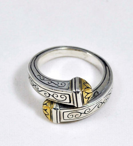 Unique Vintage Wide Solid Sterling Band Wrap Around Ring Size 7 Wedding Sterling Silver With Gold Accents | Antiques n' Oldies | Scoop.it
