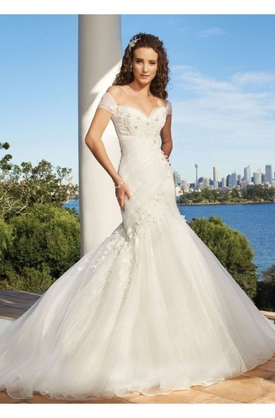 Sexy Sheath Off-Shoulder Sweetheart Appliqued Pleated Lace Up Back Whith Organza Bridal Gowns at 199dresses | wedding dresses collection | Scoop.it