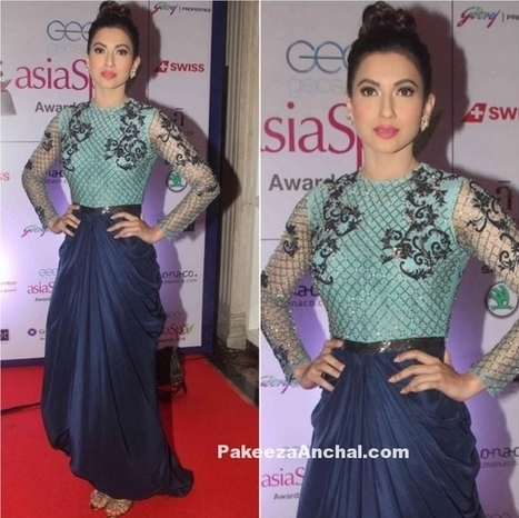 Gauhar Khan in Blue Kartikeya Gown at The Asian SPA Awards 2016 | Indian Fashion Updates | Scoop.it