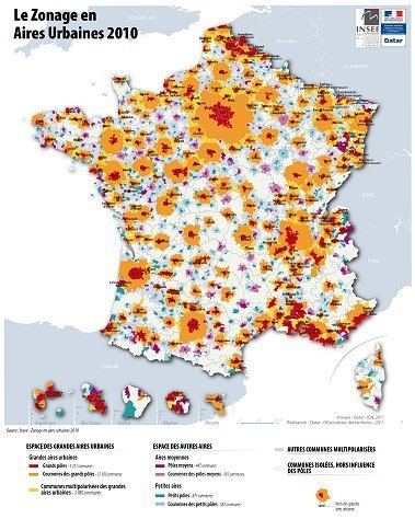 Insee - Territoire - Le nouveau zonage en aires urbaines de 2010 - 95 % de la population vit sous l'influence des villes | La ville | Scoop.it