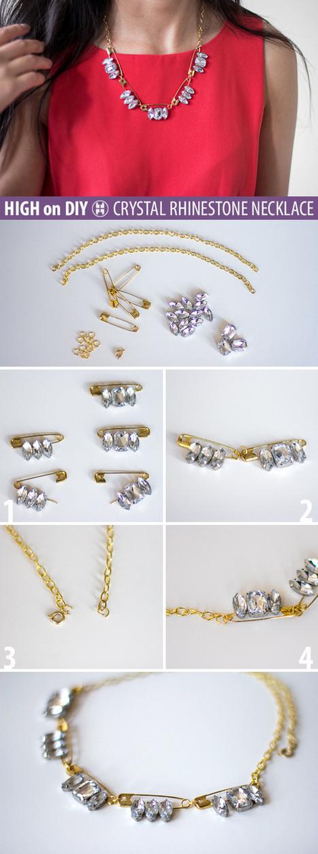high on RHINESTONE & SAFETY-PIN necklace | Fashion DIY | Scoop.it