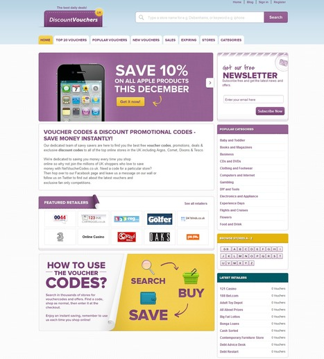 UK Discount Vouchers and coupons website | Magento eCommerce CMS Design and Development | Scoop.it
