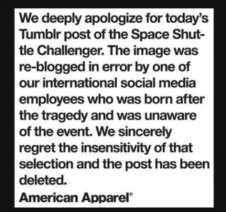 American Apparel apologizes for use of Challenger explosion photo | e-marketing, curation, intelligence collective, SEM | Scoop.it