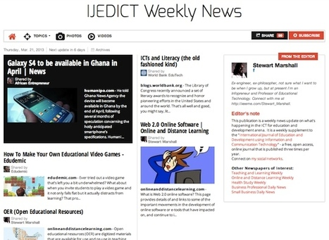 March 21, 2013: IJEDICT Weekly News is out | Studying Teaching and Learning | Scoop.it