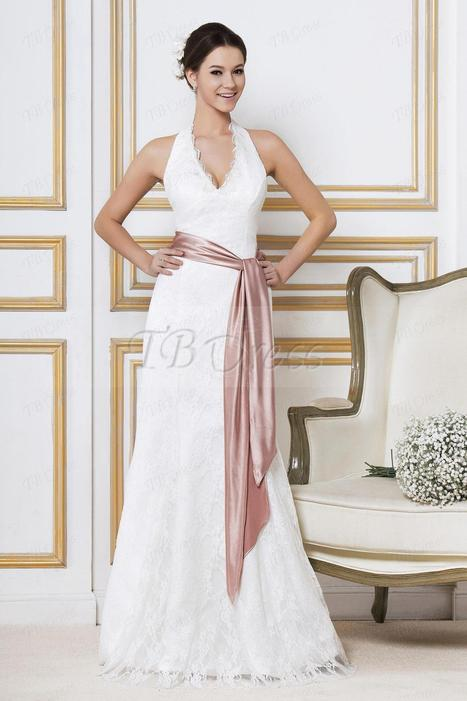 Fashion Empire Halter Top Ankle- Length Lace Sandra's Wedding Dress | la mode | Scoop.it