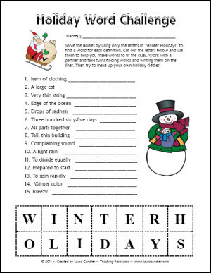 Holiday Word Challenge | Seasonal Freebies for Teachers | Scoop.it