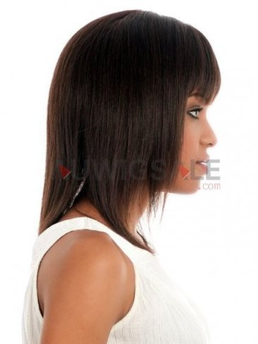 Cheap 14 Capless Mid-Length Straight Brunette Human Hair Wigs With Full Bangs | Cheap Wigs Online Shopping at Auwigsale.com | Scoop.it