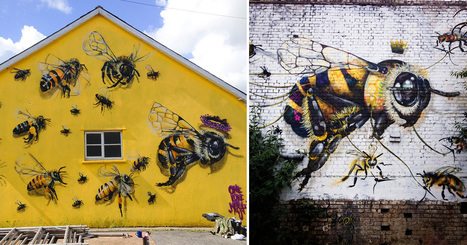 A London Street Artist Paints Swarms of #Bees on #Urban Walls to Raise #Awareness of Colony Collapse Disorder #nature #streetart  | Luby Art | Scoop.it
