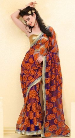 Blue And Orange Color Net Brasso Bridal Saree HRKM95 | Bridal Sarees , Lahenga Sarees Collection | Scoop.it