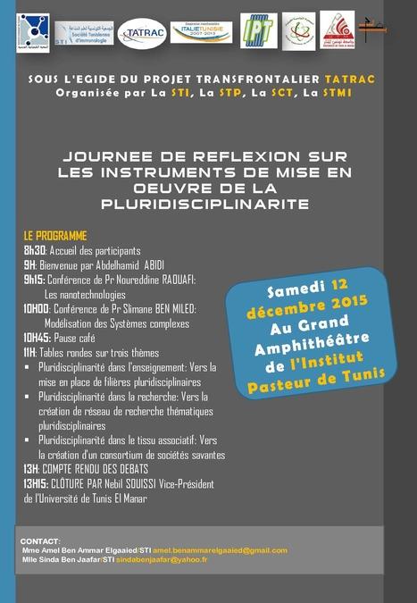 Journée de réflexion sur les instruments de mise en œuvre de la pluridisciplinarité. IPT, samedi 12 déc. | Institut Pasteur de Tunis-معهد باستور تونس | Scoop.it