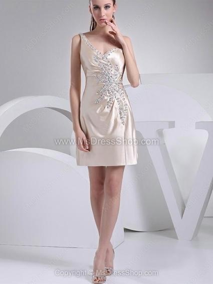 Sheath/Column One Shoulder Satin Short/Mini Rhinestone Homecoming Dresses | Cocktail dresses online | Scoop.it