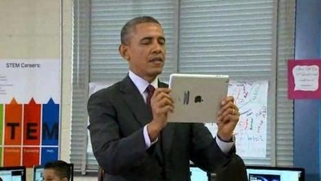 President Obama leent iPad van leerling en maakt een korte ... | Tablets in het onderwijs | Scoop.it