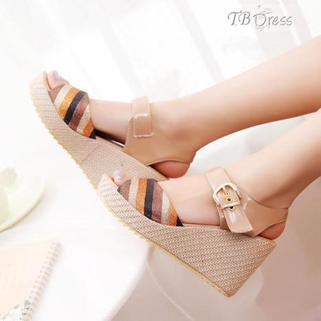 Beautiful Shinning Brown Stripe PU Wedge Heels Platform Peep-toe Sandals   FASHION-BEAUTY-CLOTHES-GIRL   Scoop.it